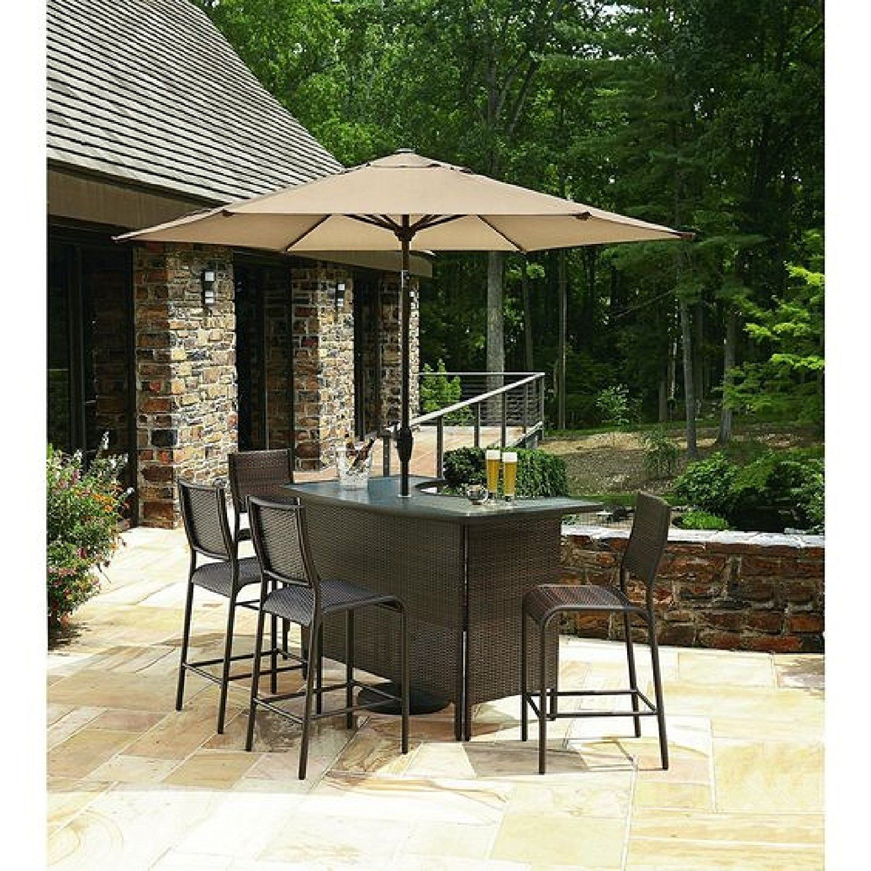 Amazon Com 6 Pc Outdoor Wicker Bars Set W Umbrella 1
