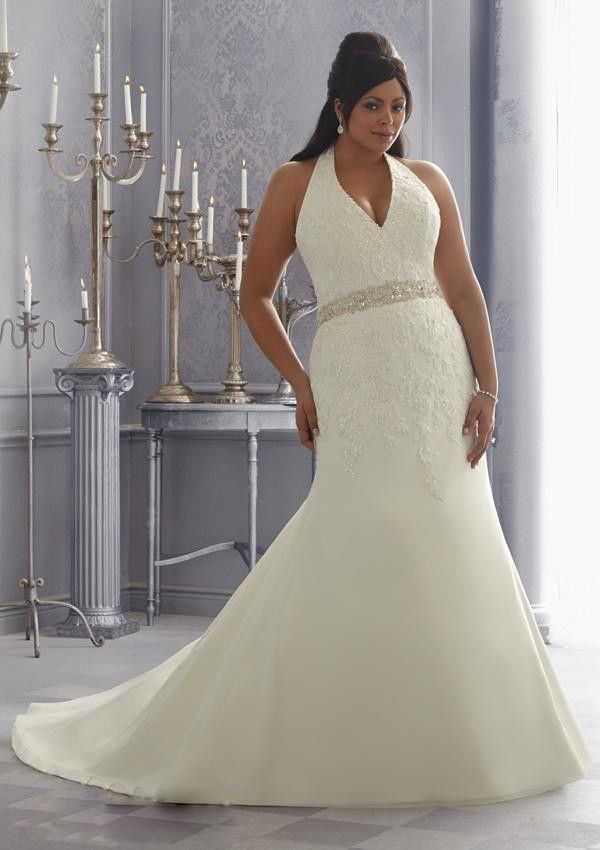 25455 halter plus size chiffon a line sweep train for Halter top wedding dresses plus size