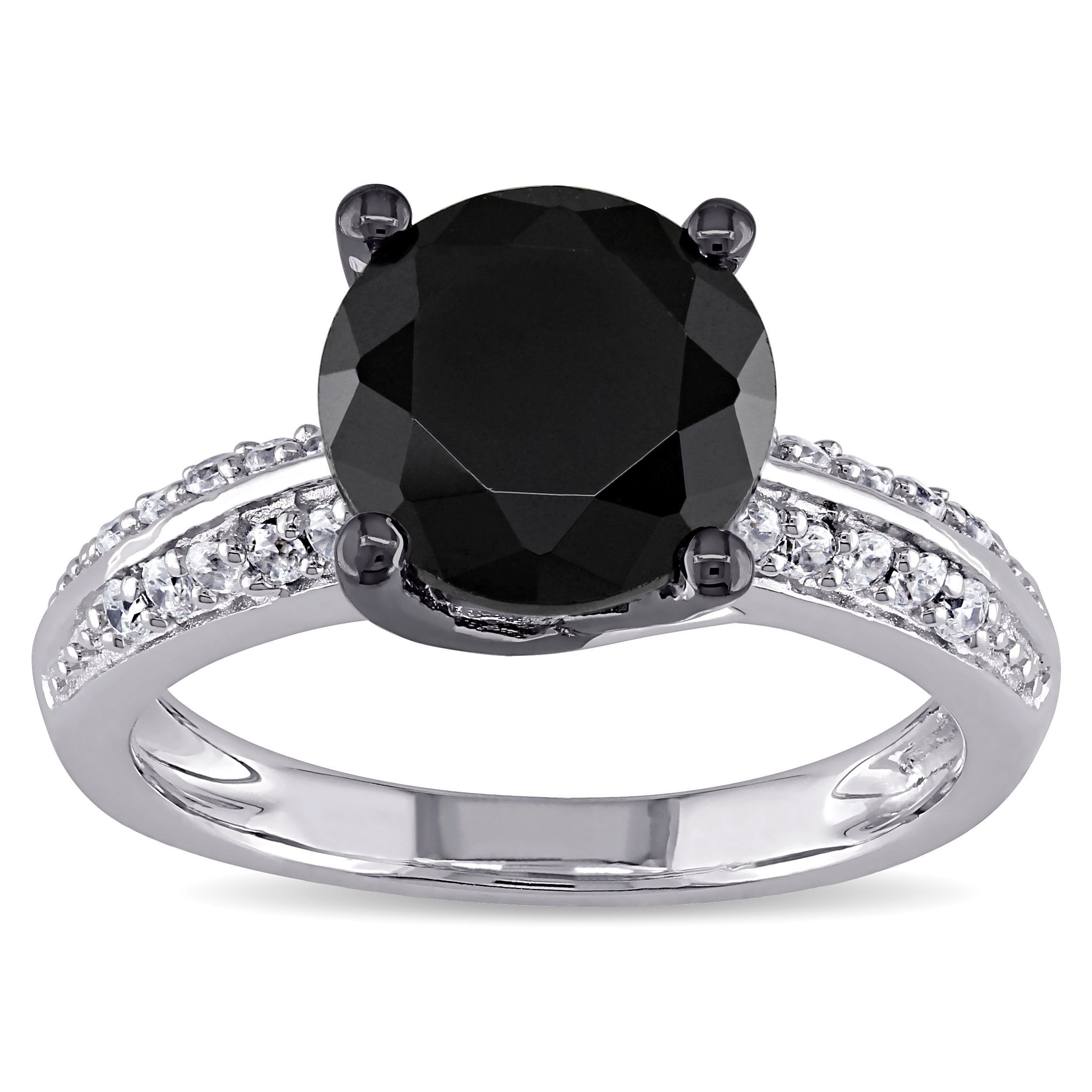M By Miadora Sterling Silver Black Cubic Zirconia Engagement Ring (size  60), Women's, Size: Medium, White