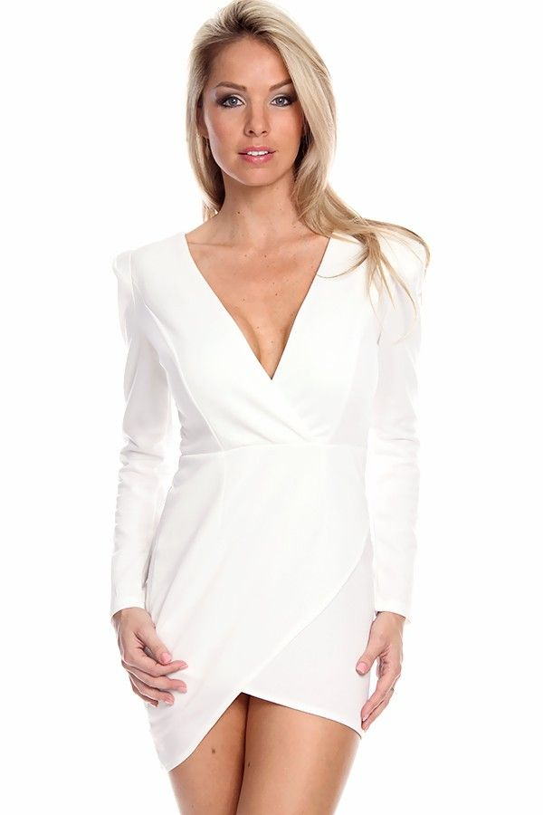 WHITE LONG SLEEVE SHOULDER PAD DEEP V-NECK ASYMMETRICAL DRESS 2ff56d5a3342