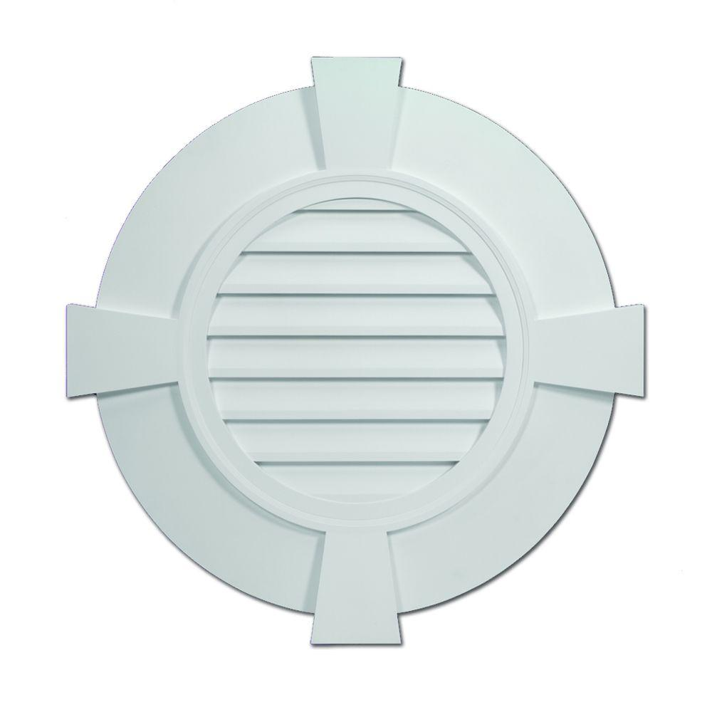 Fypon 32 27 32 In X 32 27 32 In X 2 13 51 In Polyurethane Decorative Round Louver With Flat Trim And Flat Keystones Gable Vents Louver Vent Cottage Exterior