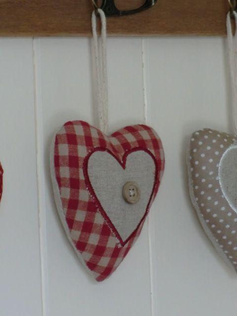 Red Gingham Fabric Heart Hanger