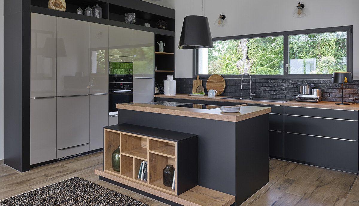 Une Cuisine Noir Mat Et Bois Mobalpa Kitchen Remodel Home