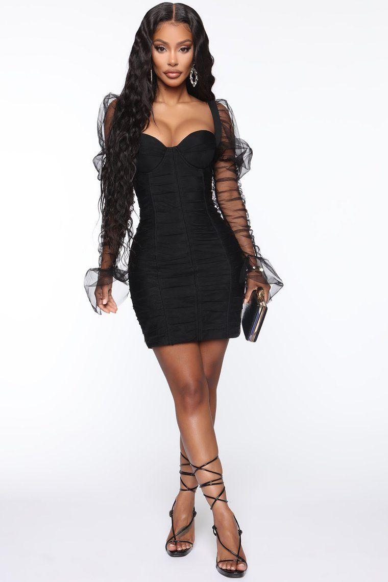 High Fashion Ruched Mini Dress Black60sfasion black