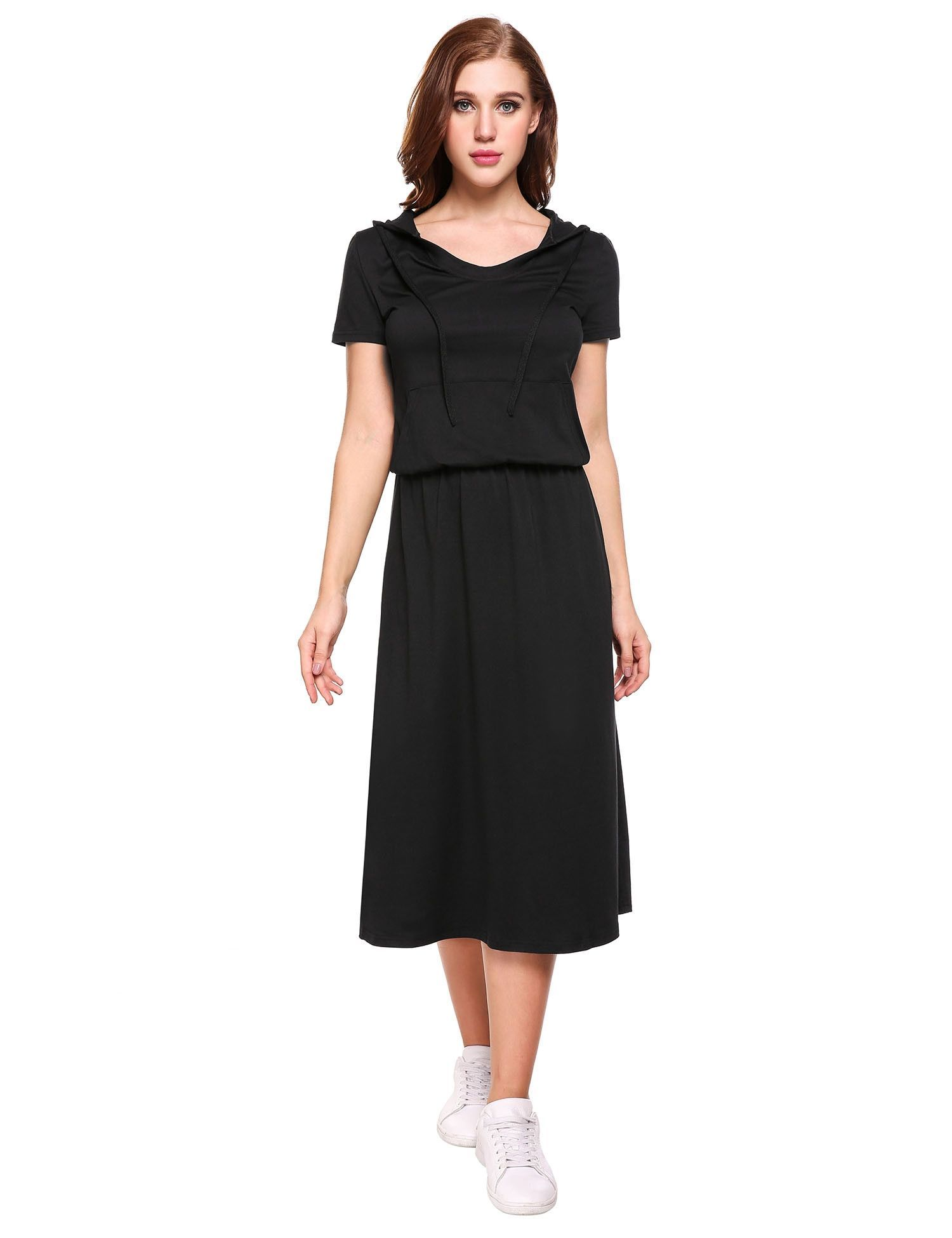 Black hooded round collar short sleeve long casual dress round
