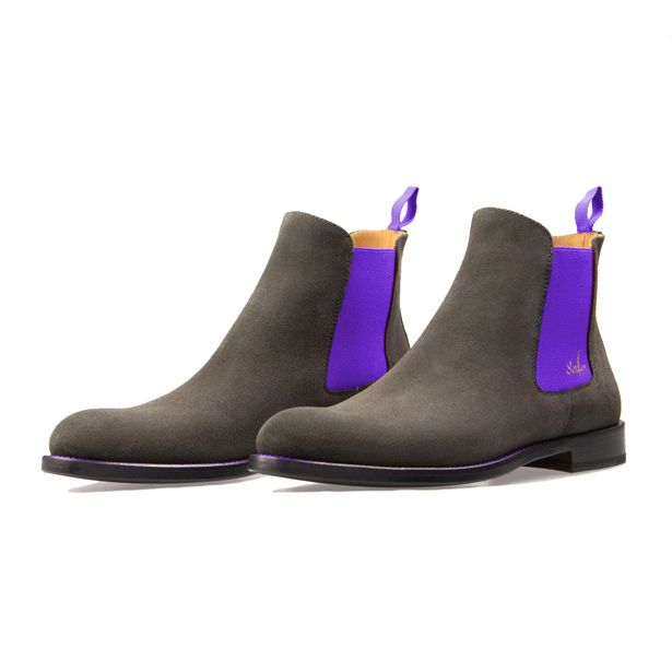 d8c9d5c073900a Serfan Chelsea Boot Men Grey Suede Purple Spandex