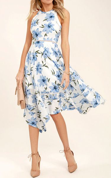 78f09c8965d Zahara Blue and White Floral Print Midi Dress via  bestchicfashion