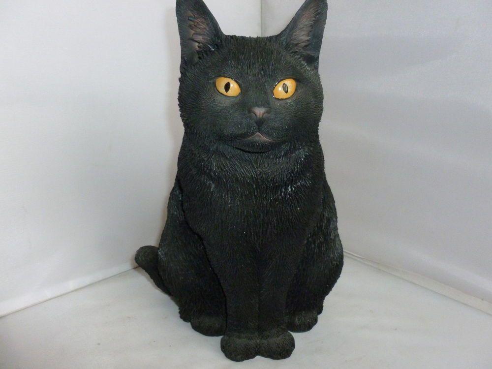 Brand New Sitting Black Cat Garden Ornament