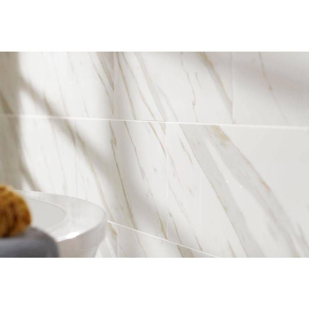 Ms International Calacatta Ivory 12 In X 24 Glazed Polished Porcelain Floor And Wall Tile 16 Sq Ft Case White