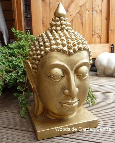 Enigma Buddha Head Bust Gold Home Or Garden Ornament | Woodside Garden  Centre | Pots To