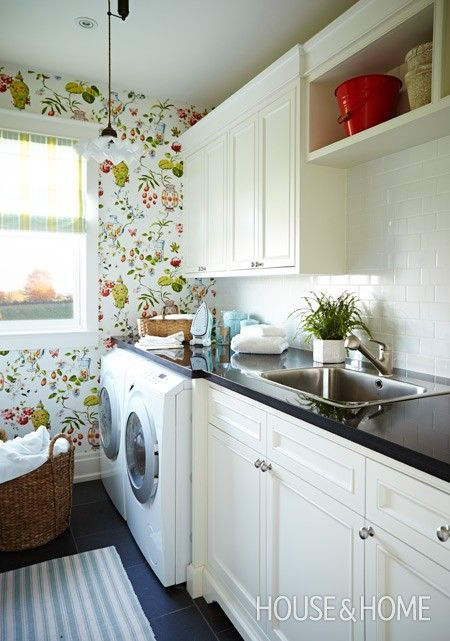 Chinoiserie Wallpaper Laundry Room   Photo Gallery: Sarah Richardson Designs   House & Home   Photo by Angus Fergusson