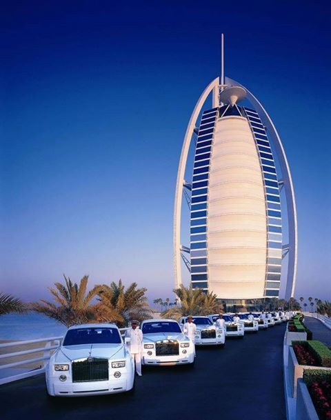 A Fleet Of Rolls Royce Phantoms With Dubai S Most Luxurious Hotel Burj Al Arab Jumeirah