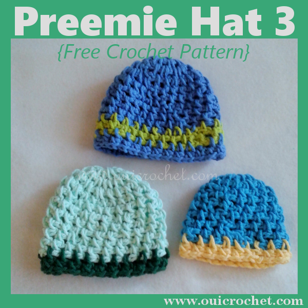Preemie Hat 3 Three Sizes {Free Crochet Pattern} | Preemie hats ...