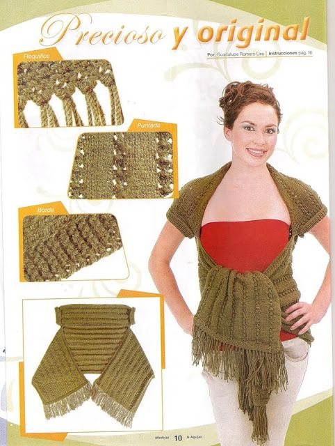 Patrones Crochet: Patron Crochet en Texto Chaleco Mangas   Chales ...