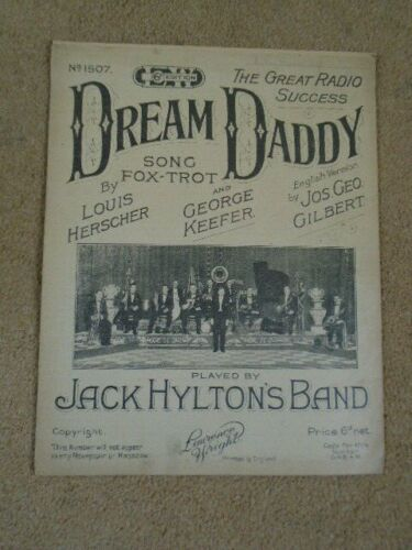 DREAM DADDY 1923 vintage original Sheet Music - by JACK HYLTON'S BAND #vintagesheetmusic