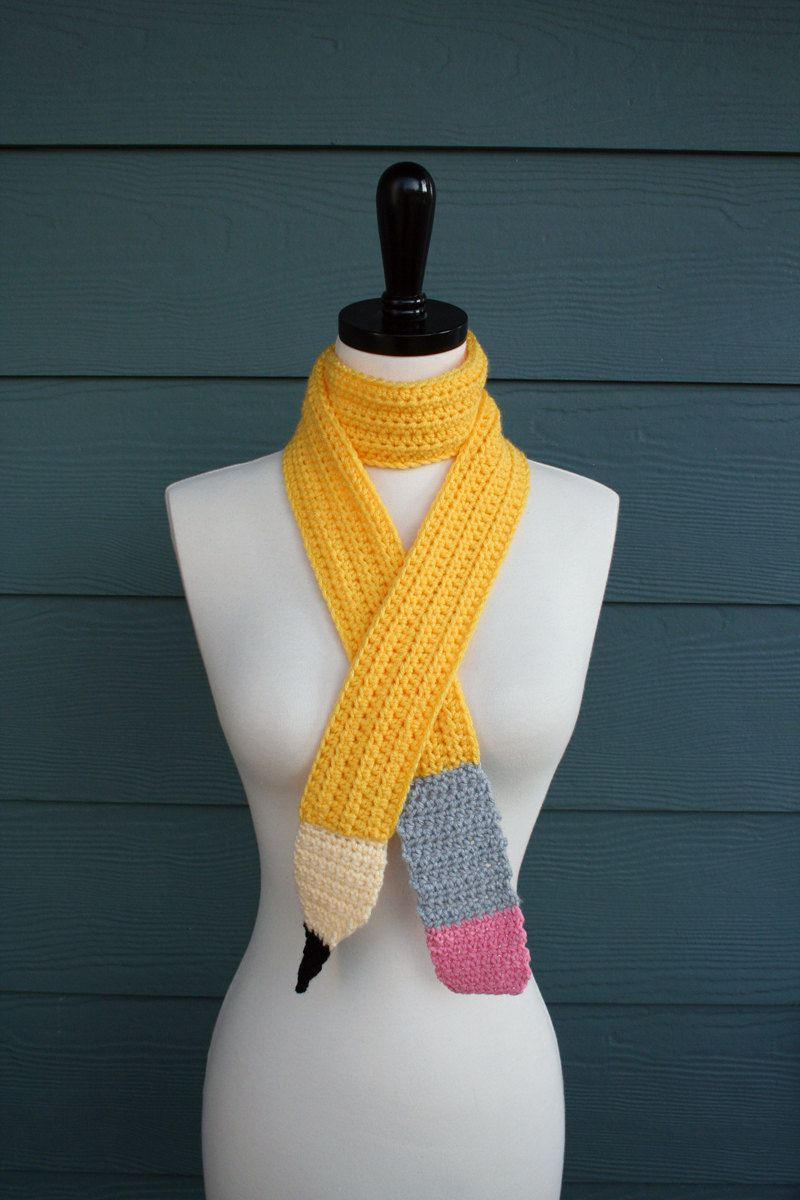 Crochet Pattern Scarf Pencil Back to School Child Adult