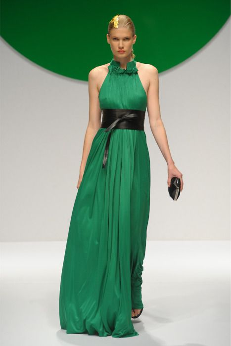 watch 192bf 9ecb5 Beautiful green gown by Krizia- Love especially the leather ...