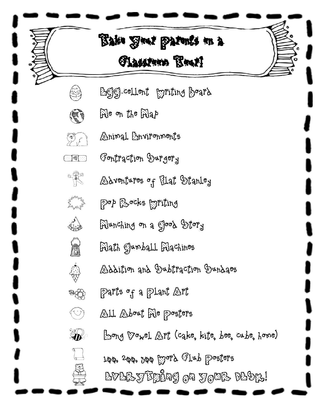 Fun And Visual Open House Checklist So Kids Can Give Their Parents A Tour Of The Classroom