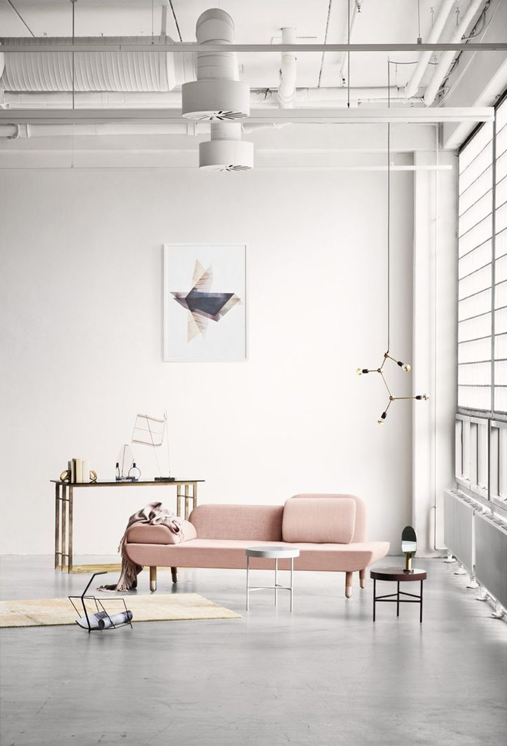 Muted and pastels | Pink sofa, Industrial living rooms and ...