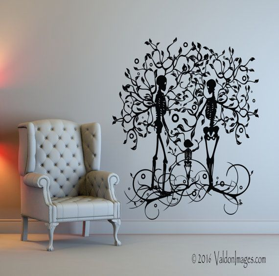 Skeleton Family Wall Decal Tree Of Life Wall Decal Livingroom Decor By  ValdonImages