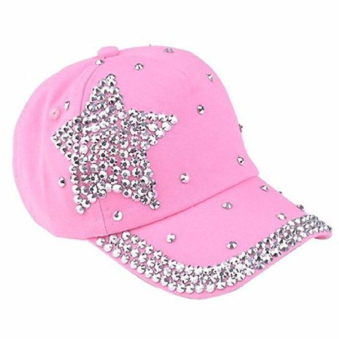 Rhinestone Baseball Cap Glitter Sparkle Bling Star Women Summer Hat Pink