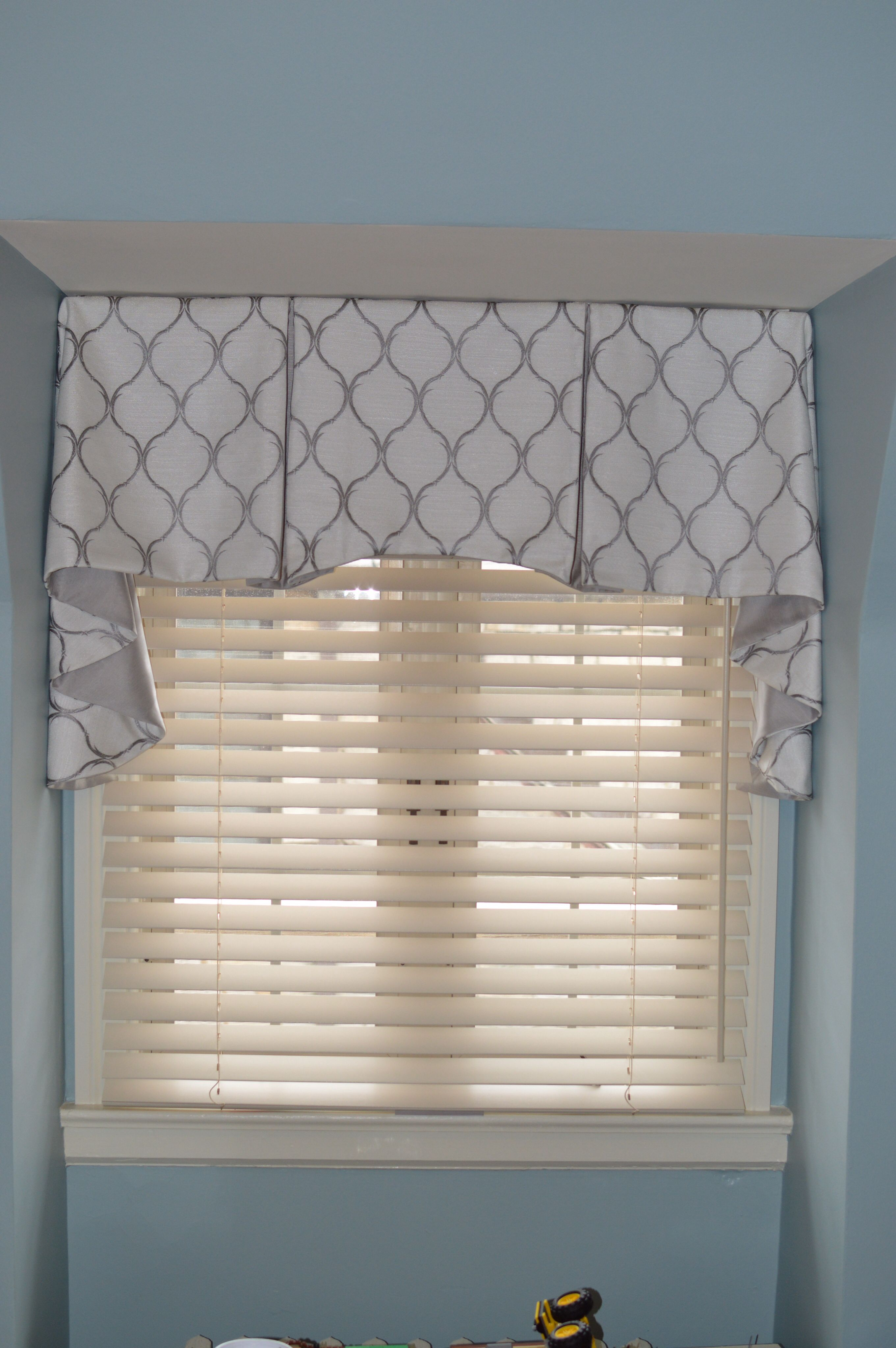 Box Pleat Button Back Valance Two Fabrics Contrasting