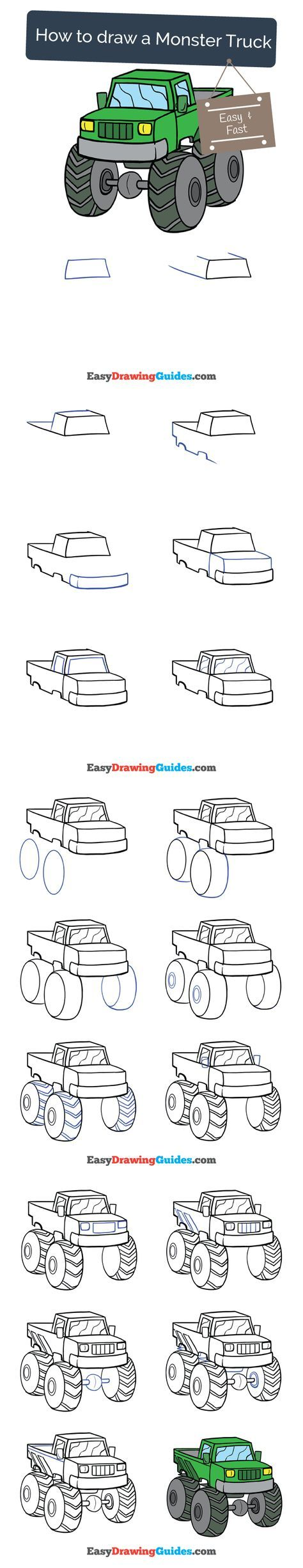 37 Super Ideas For Truck Drawing For Kids In 2020 Monster Truck Drawing Drawing Tutorials For Kids Car Drawing Kids