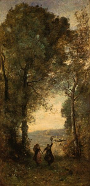 COROT, Jean-Baptiste Camille :  Reminiscence of the Beach of Naples   (1870-72)   oil on canvas   175 x 84     The National Museum of Western Art, Tokyo