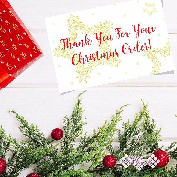 Thank You Card For Your Customer Printable Custom Christmas Thank