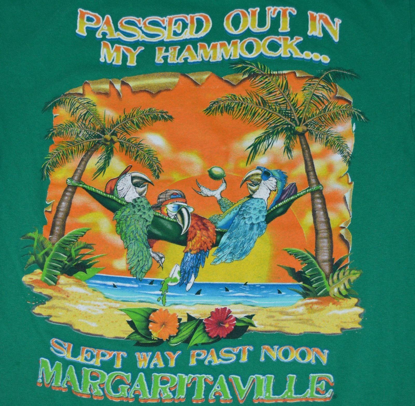 Jimmy Buffett Margaritaville Medium Green T Shirt Parrots ...
