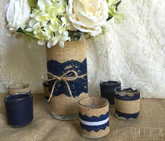 dentelle et toile de jute bleu marine rustique par. Black Bedroom Furniture Sets. Home Design Ideas