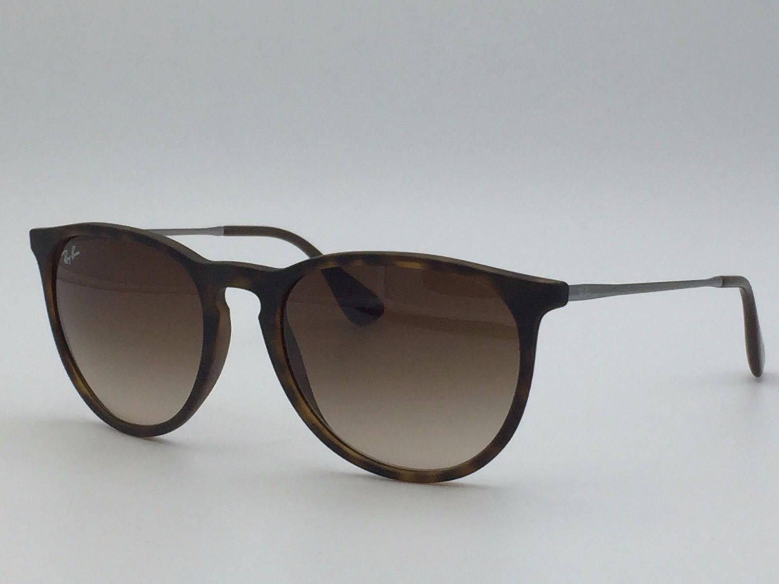 ray ban erika brown havana rubber  ray ban rb4171 erika 865/13 tortoise round sunglasses w/ gradient brown lenses