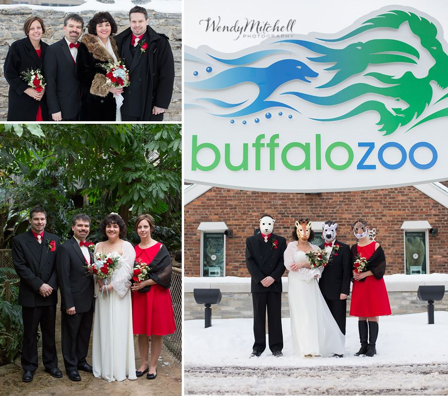 Bride And Groom With Maid Of Honor And Best Man, Wearing