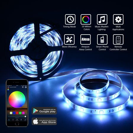 2 Packed 16 4ft 5050 Led Light Strip With 150 Beads Ir Controller