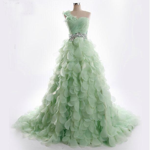 2015 Luxury Light Green Wedding Dresses Petal Tiered One Shoulder ...