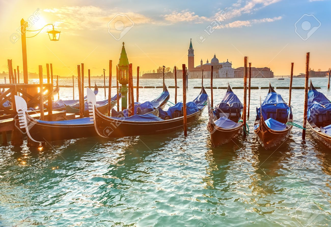 Venetian Gondolas At Sunrise Venice Italy Venice Painting Venice Types Of Photography