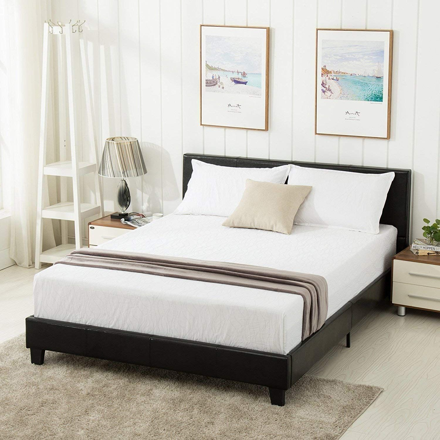 Amazon Com Mecor Faux Leather Bonded Platform Bed Frame