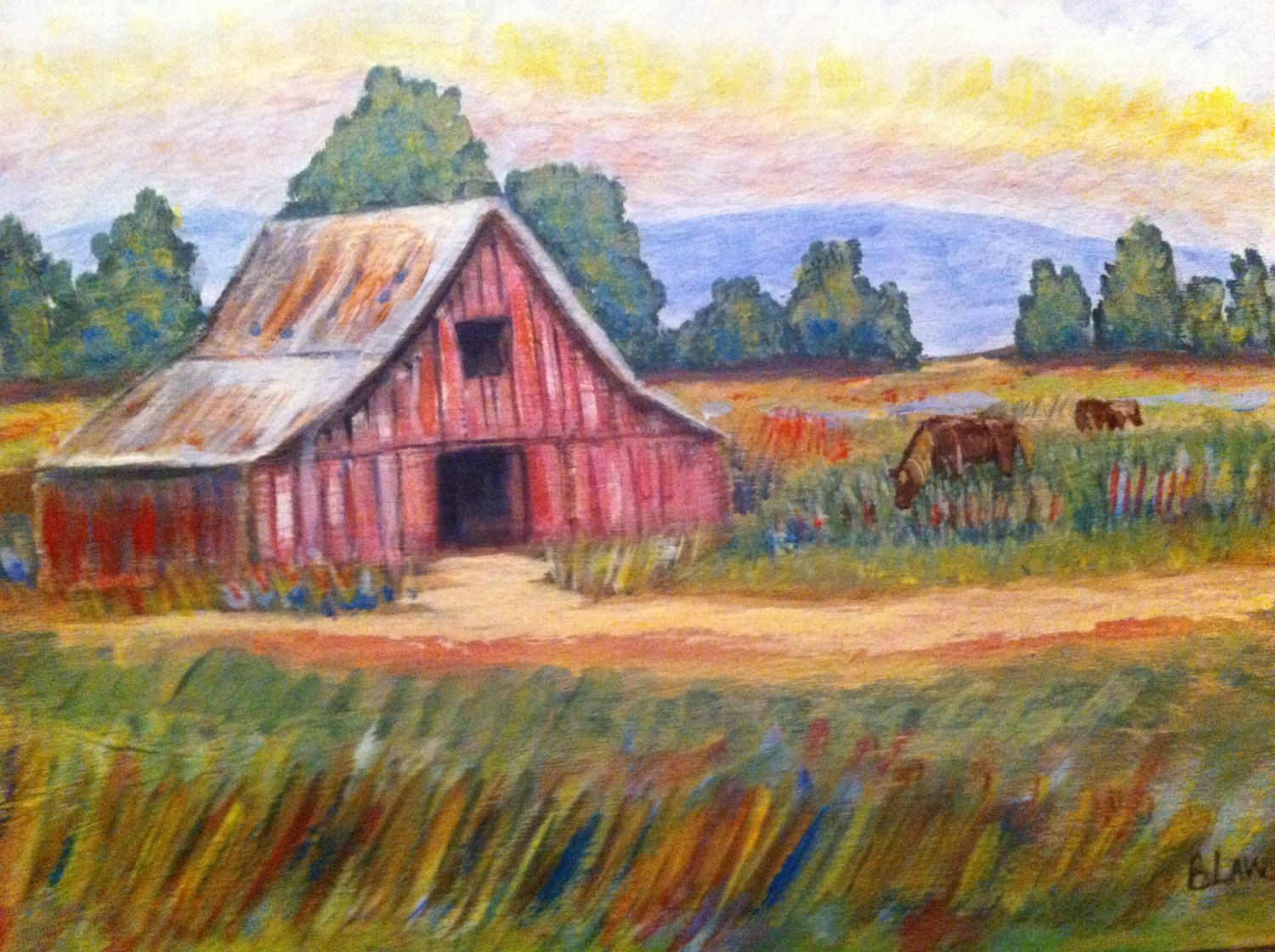 Red Farmhouse Drawing Red Barn Painting Farm House Decor Country Decor Rustic