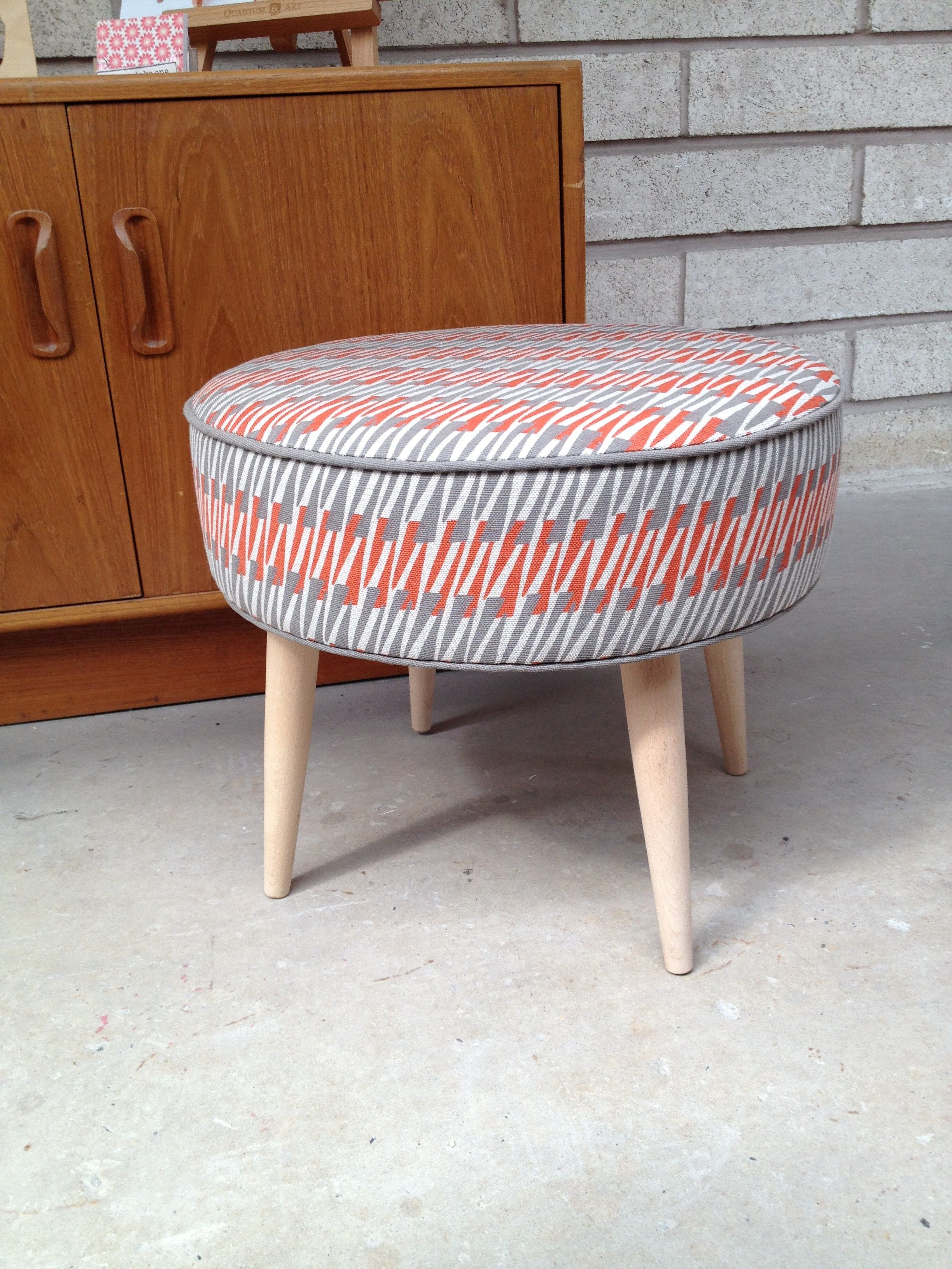 Footstool covered in Sarah Waterhouse fabric, which made an appearance at the London Design Festival 2014 in David Mellor's flagship shop in Sloane Square, London.