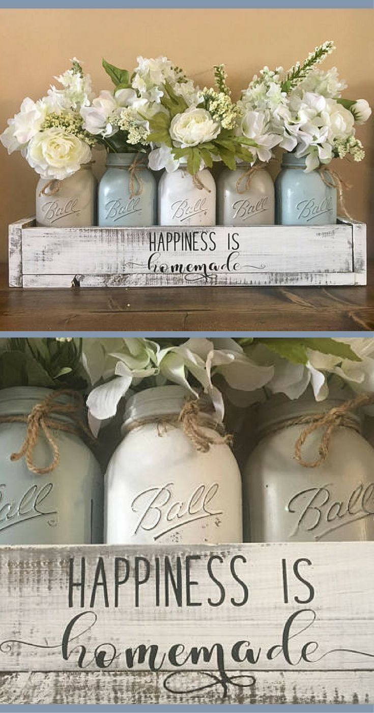 Happiness Is Homemade Yep I Really Like These Muted Colors Mason Jar Centerpiece Rustic Wooden Box Centerpiece Wooden Box Centerpiece Rustic Wooden Box
