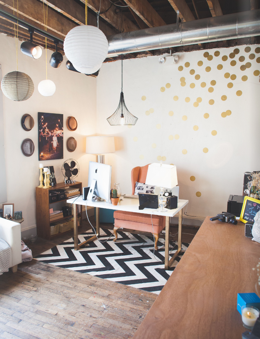 feminine office decor. Office Inspiration | Feminine Home With Exposed Beams #polkadots #chevron #lanterns Decor R