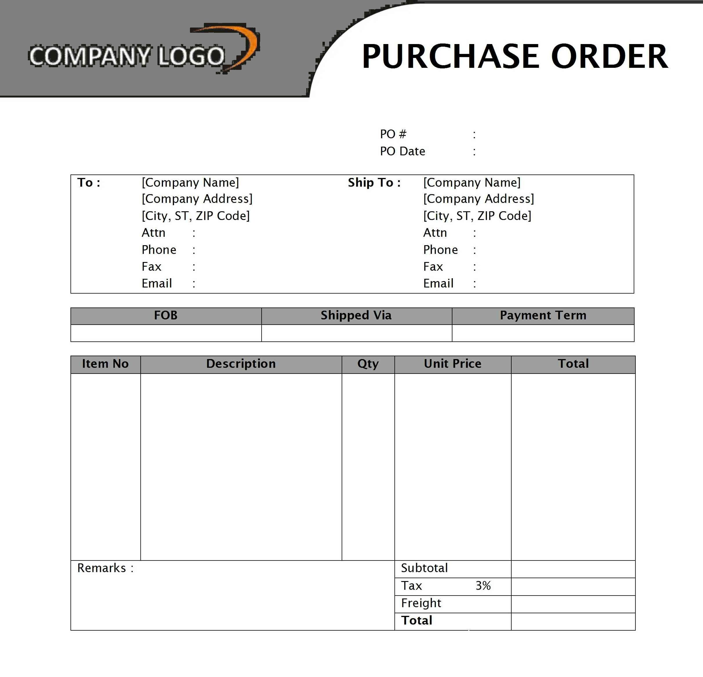 purchase order templates for word