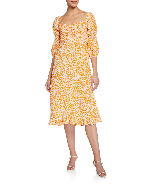 Faithfull The Brand Nora Floral 3 4 Sleeve Midi Dress Midi Dress With Sleeves Dresses Midi Dress [ 1500 x 1200 Pixel ]