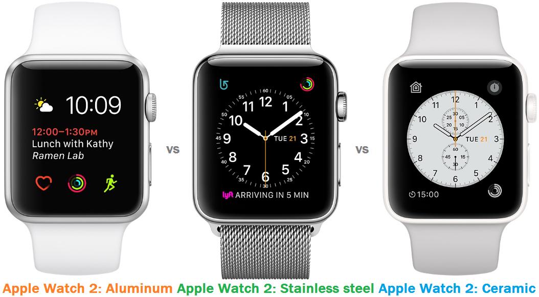 Apple Watch 2 Aluminum Vs Stainless Steel Vs Ceramic Comparison Apple Watch Apple Watch Aluminum Iphone Watch