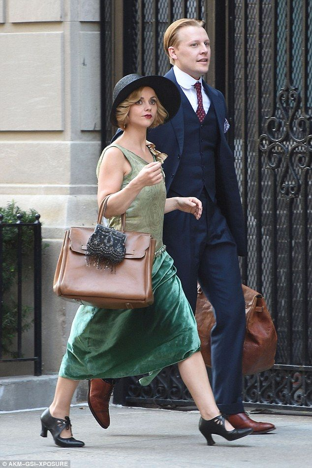 Quiet on set: Christina Ricci was every inch the twenties flapper on Tuesday afternoon as she filmed scenes with co-star David Hoflin on the set of her new period drama, currently being filmed under the working title Z: The Beginning of Everything