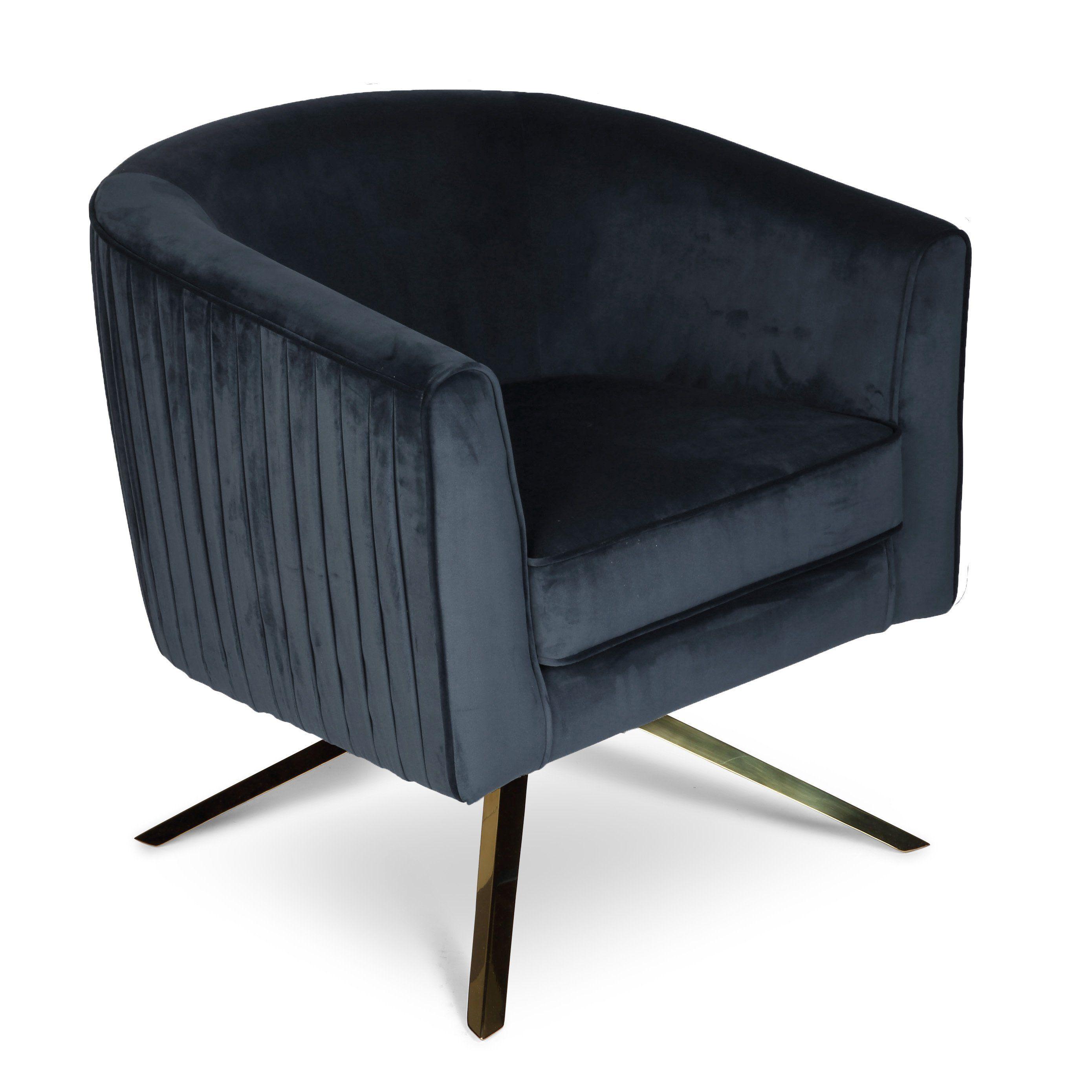 Cannes revolving velvet chair navy blue velvet chair
