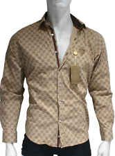 baf050ac459 Beige Color . New . GG Monogram Design Men Gucci Dress Shirt  M.L.XL[Regular,L]