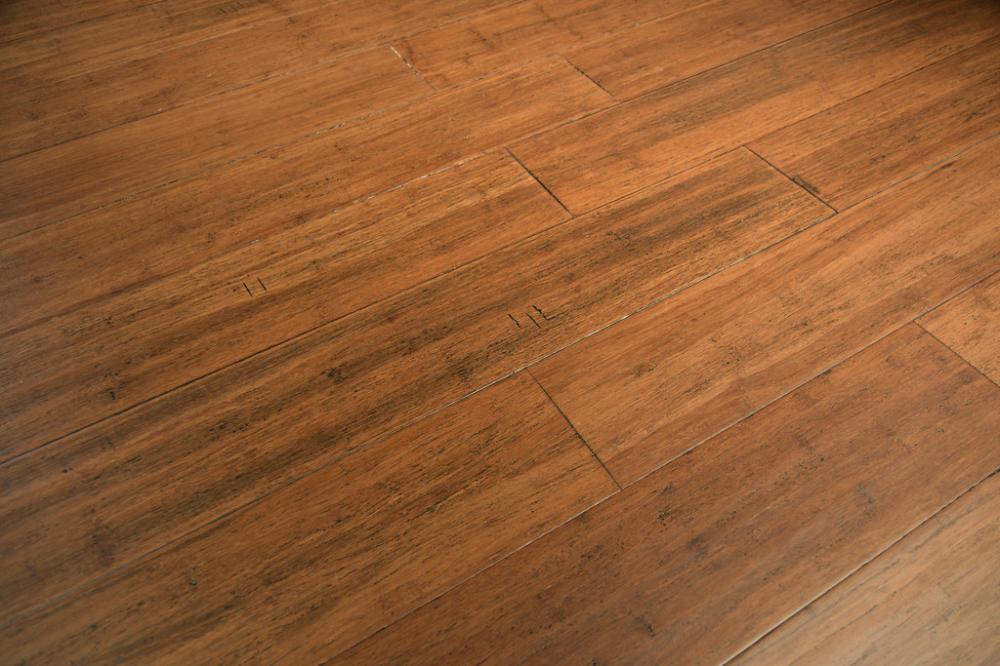 Floating Wood Floor In Copperstone Geowood By Cali Bamboo Sample Diy Wood Floors Distressed Wood Floors Diy Flooring