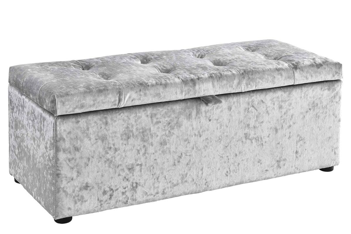Ottoman Storage Silver Crushed Velvet Unit Upholstered Bedroom Storage Ottoman Velvet Bedroom