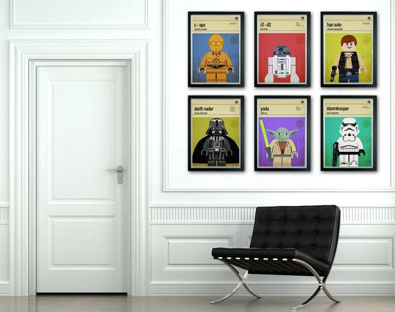 This is a stylish set of 6 poster prints of the Lego Star Wars ...
